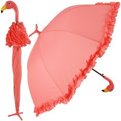 Beautiful Pink Flamingo Full-Size Umbrella. Accented with ruffles this unique design feature flamingo-feet detailing which allows the umbrella to stand upright when not in use and flamingo head design handle. Polyester, ABS, Iron.
