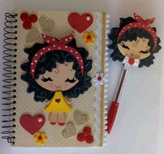 Cute little doll notebook cover with mold to print on Eva as I do handiwork ste Foam Crafts, Diy And Crafts, Crafts For Kids, Arts And Crafts, Paper Crafts, Origami Design, Make Tutorial, Notebook Covers, Rose Art