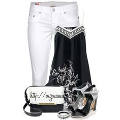 A fashion look from June 2014 featuring patterned tops, white capri jeans and black white shoes. Browse and shop related looks. Diva Fashion, Fashion Sets, White Fashion, Womens Fashion, Fashion Design, Cute Pants Outfits, Jean Outfits, Classic Work Outfits, Weekend Wear