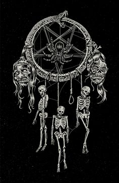 // A new take on the old dream catcher. This one traps the good dreams allowing only nightmares to get through Gothic Drawings, Dark Art Drawings, Rockabilly Artwork, Horror Photos, Heavy Metal Art, Ghost And Ghouls, Satanic Art, Evil Art, Angel Drawing