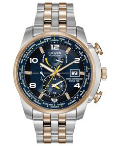 Citizen Men's Eco-Drive World Time A-T Two-Tone Stainless Steel Bracelet Watch 47mm AT9014-51L - A Macy's Exclusive - Watches - Jewelry & Watches - Macy's