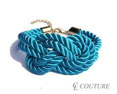 Turquoise Nautical Silk Rope Infinite Knot Bracelet Adjustable