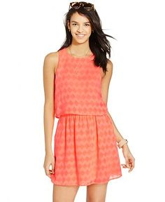 Trixxi Juniors' Patterned Popover Dress - Juniors Dresses - Macy's