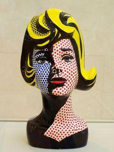Head with Blue Shadow | Lichtenstein inspired self-portrait busts