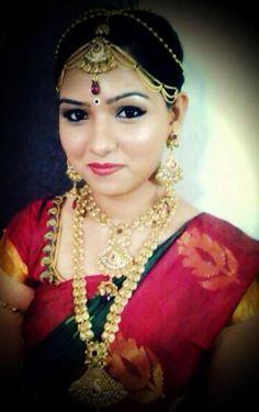 south indian bride   bridal saree makeup jewellery