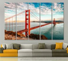 San Francisco Golden Gate Bridge canvas print California Wall Art San Francisco Office Print Golden Gate Bridge Handmade Canvas Golden Gate by ArtWog Office Wall Decor, Office Walls, Surf Decor, Lake Signs, Office Prints, Thing 1, Rest Of The World, Beach Art, Large Wall Art