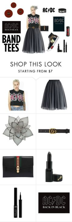 """AC/DC"" by tomi-vugrinec ❤ liked on Polyvore featuring Converse, Goodie Two Sleeves, Chicwish, Carolee, Gucci, Barry M, Giorgio Armani, Mapalé and AC/DC"