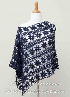 #Crochet flower wrap pattern for sale from Outstanding Crochet