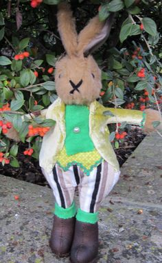 Nicholas Bunny- Brown Plush Fur Rabbit- Dessed Toy-Velvet Lime Green Jacket-Brown Striped Trousers-Black Suede Boots-Xmas-Birthday-Easter