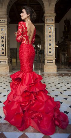 Silvia Navarro Red Lace And Ruffle New Collection Maxi Gown by 1sillaparamibolso