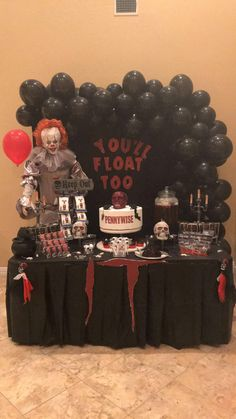 From customized party themes to customized treats, and rentals! Soirée Halloween, Halloween Party Snacks, Halloween Activities For Kids, Halloween Drinks, Halloween Birthday, Pennywise Decorations, Diy Halloween Decorations, Birthday Party Decorations, Party Themes