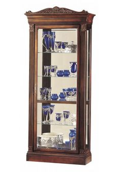Wall Display Cabinet w/ 4 Adjustable Shelves, Mirrored Back ...