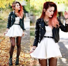 Girly punk White dress off white petticoat of some kind Black skinny belt at waist  Black tights w polkadots Leather jacket rock and roll statement necklace