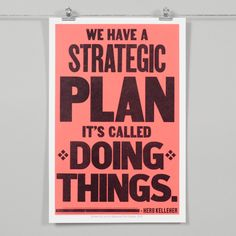 "Strategic Plan print is back in stock! Letterpress and screen printed by hand, by us, for you. Black on red. $25 12""x18"""