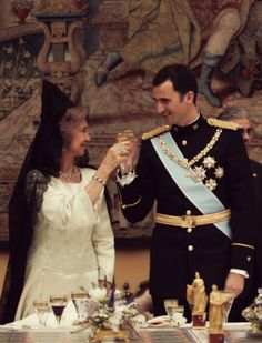 Queen Sofia and prince of Asturias wedding cheeers