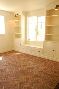 Built-ins, window seat, and herringbone brick flooring Built In Shelves, Built Ins, Window Shelves, White Shelves, Window Wall, Window Lights, Door Wall, Style At Home, Brick Flooring
