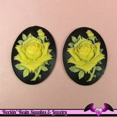 2 pc IVORY ROSE Vintage Style 30x40mm Black Resin Cameos Flatback Cabochons
