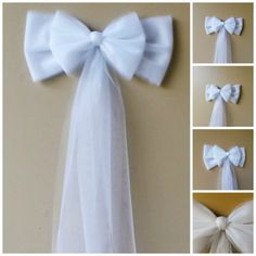 Tulle pew bow over 20 colors tulle church pew decor tulle pew white tulle pew bow church aisle decor white wedding decorations church pew bow vintage wedding decoration rustic wedding decoration junglespirit Image collections