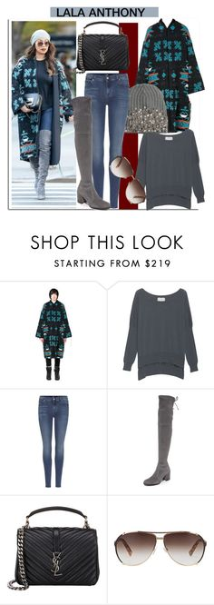 """""""Navajo with Lala Anthony..."""" by nfabjoy ❤ liked on Polyvore featuring Marcelo Burlon, Friendly Hunting, 7 For All Mankind, Stuart Weitzman, Yves Saint Laurent, Christian Dior, StreetStyle, CelebrityStyle and LalaAnthony"""