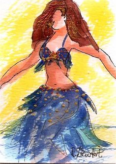 """""""ACEO Bellydancer No. 24 in a series, Watercolor and pen, copper accents, blue cabaret costume"""" - Original Fine Art for Sale - © Penny Stewart $15.00 www.craftylady.com"""
