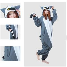2015 Newest Animals Fashion Madagascar Ring-tailed Lemur Fancy Winter  Cosplay Party Costumes Adult Cute Cartoon Pajamas Onesies f151156f2