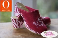 The Pink Monogram High Heel Monogrammed Clogs- Create your own pair of shoes!  Apparel & Accessories > Shoes > Clogs & Mules