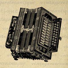 Accordion Digital Printable Graphic Download Image Artwork Antique Clip Art Jpg Png Eps 18x18 HQ 300dpi No.1463 @ vintageretroantique.etsy.com