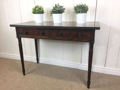 Solid Wood. Lovely Console Table with two drawers, stood on turned legs. Some marking and scratches to wood work, with a larger obvious mark to the top surface. However, we will do our best to work with third parties to accommodateconvenient collection times and loading assistance. | eBay!