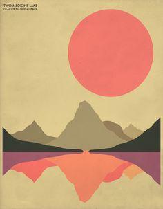 Glacier National Park as Premium Poster by Jazzberry Blue Art And Illustration, Illustrations, Kunst Poster, Art Prints Online, Park Art, Diy Canvas Art, Art Graphique, Art Mural, Art Abstrait