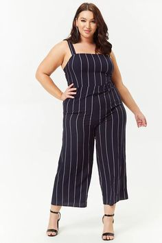Product Name:Plus Size Striped Cutout Jumpsuit, Category:plus_size-main, Price:27.9