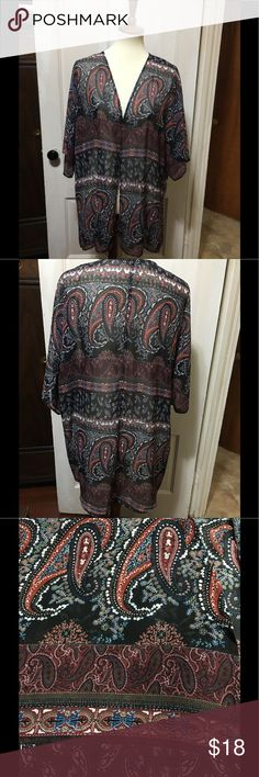 """🌺❤️Beautiful Kimono❤️🌺 This kimono is beautifully patterned with so many wonderful vivid colors.  Pit to pit is 28"""", shoulder to hem front is 30 1/2"""" and shoulder to hem back is 34"""".  🌺❤️🌺❤️🌺❤️🌺❤️🌺❤️🌺 HALO Tops"""