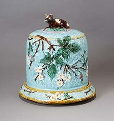 Majolica cheese cover and dish.