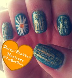 Crackle/Shatter Daisy Manicure. Tutorial found here: http://www.youtube.com/watch?v=DoiuJJBNFfs&feature=channel_video_title