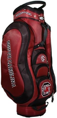NCAA South Carolina Fighting Gamecocks Medalist Cart Bag by Team Golf. $149.99. Padded strap with strap pouch and fleece-lined valuables pouch. Integrated top handle and 14-way full length dividers. External putter well and 3 lift assist handles. Removable rain hood and umbrella holder and towel ring. 8 location embroidery and 5 zippered pockets. This bag is loaded with features, including integrated top handle, 14-way full length dividers, 8 location embroidery, 5 zippered...