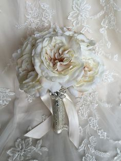 Ivory Bling Handle Bouquet - Bling Bouquet - Ivory Bling Bouquet - White Bling Bouquet - Sparkly Handle Bouquet - Silk Rose Bouquet - pinned by pin4etsy.com