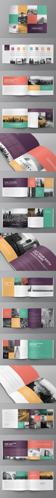 Buy Colorful Squares Brochure by AbraDesign on GraphicRiver. COLORFUL SQUARES BROCHURE This brochure is an ideal way to showcase your business in an original way. Layout Design, Graphisches Design, Print Layout, Graphic Design Layouts, Graphic Design Inspiration, Cover Design, Print Design, Design Brochure, Booklet Design