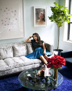 Jen Brill's NY apartment. That is a silver couch!