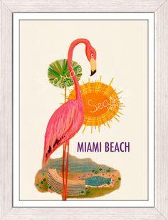 Miami beach vintage deco style Pink flamingo poster
