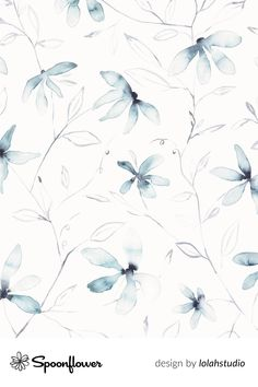 Wallpaper, fabrics and home decor digitally printed by Spoonflower - Shop your favorite indie designs on fabric, wallpaper and home decor products, all printed with eco-friendly inks and handmade in the United States. #flowers #floral #watercolor #clematis
