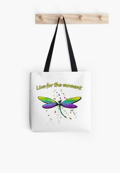 """Beautiful vibrant colors. This is my own watercolor artwork on a fantastic variety of clothing and other goods. Dragonflies only live for a short ime yet they delight us with their beauty. They truly do """"Live for the moment"""" • Also buy this artwork on bags, apparel, stickers, and more."""