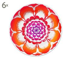 Set di 6 piattini per tazze in porcellana multicolor Bloom, D 15 cm