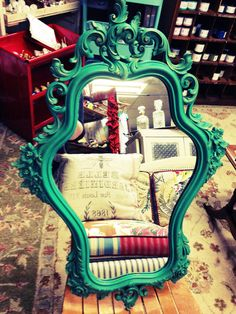 Turn your vintage mirrors in to fun and colorful works of art with Annie Sloan Chalk Paint and gilding wax! My Table Gallery, Hales Corners, WI