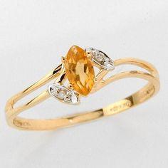 Citrin köves aranygyűrű gyémántokkal