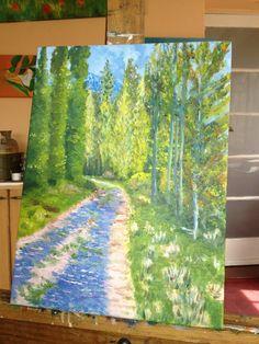 """Este cuadro lo pinté el 2014. Corresponde a una serie de paisajes del Sur de Chile. Araucanía: """"Camino""""."""