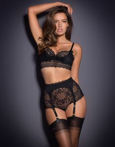 Classic Pink & Black Lingerie by Agent Provocateur - Stone Big Brief