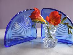 Vintage Depression Glass Cobalt Blue Relish Tray Inserts Pair of Two Triangular Relish Inserts 1930