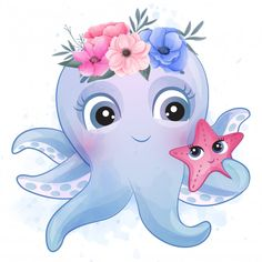 Octopus baby character Vectors, Photos and PSD files Watercolor Flower Background, Watercolor Flowers, Cute Animal Drawings, Cute Drawings, Familie Symbol, Little Octopus, Little Panda, Foto Baby, Watercolor Effects