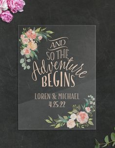 """Wedding Decoration Ideas -  Personalized """"Adventure Begins"""" Clear Acrylic Sign for Ceremony or Reception Decor 