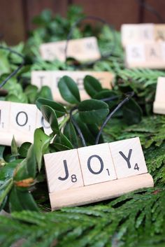 Scrabble letters as Christmas ornaments