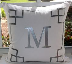 Greek Key Border Monogrammed Square Throw Pillow *Different Colors Available*